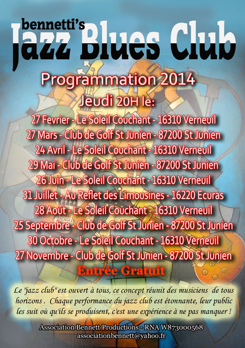 Bennetti's Jazz n Blues Club - dates 2014