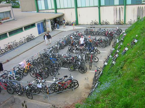 The overnight bike park at Gueret