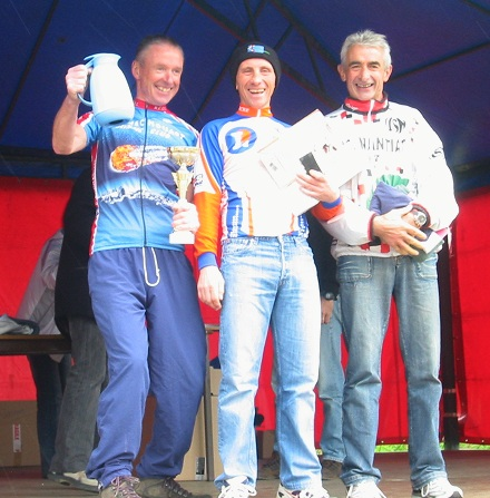 The vets podium at the Bussiere Pontivne VTT Raid