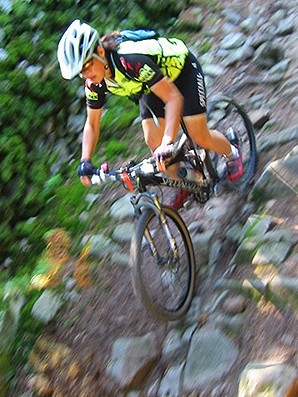 Carla in action on a rock strewn descent in the Monts de Blond