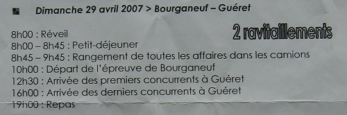 Bourganeuf – Guéret 60kms - schedule