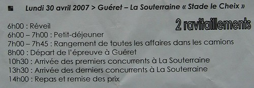 Day three schedule - Gueret La Souterraine 60kms