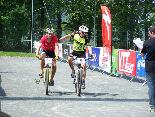 Phil and I cross the line at the end of day two